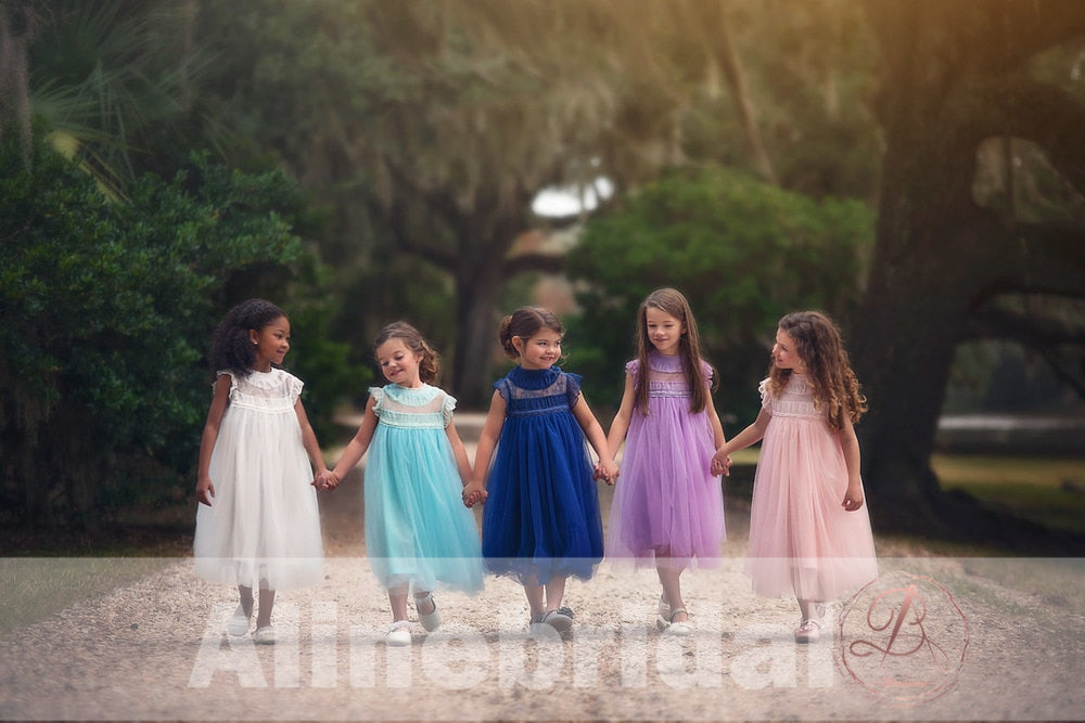Simple Bright Blue Tulle Cap Sleeve High Neck Flower Girl Dresses, FGS065