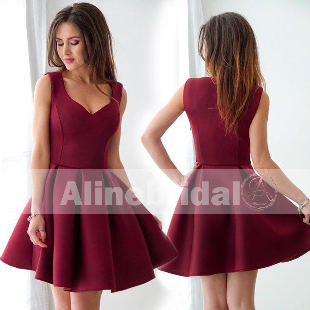 Simple Cheap Burgundy Mini Sleeveless Sweet-16 Homecoming Dresses ,BD00225