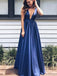 Simple Cheap Deep V-neck V-back A-line Elegant Long  Prom Dresses,PD00078