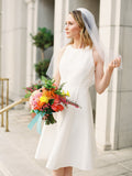 Simple Elegant Ivory Satin Open Back Round Neck Short Wedding Dresses, AB1546