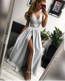 Simple Elegant Light Grey Lace Sleeveless V-neck High Side Splits Prom Dresses ,PD0183