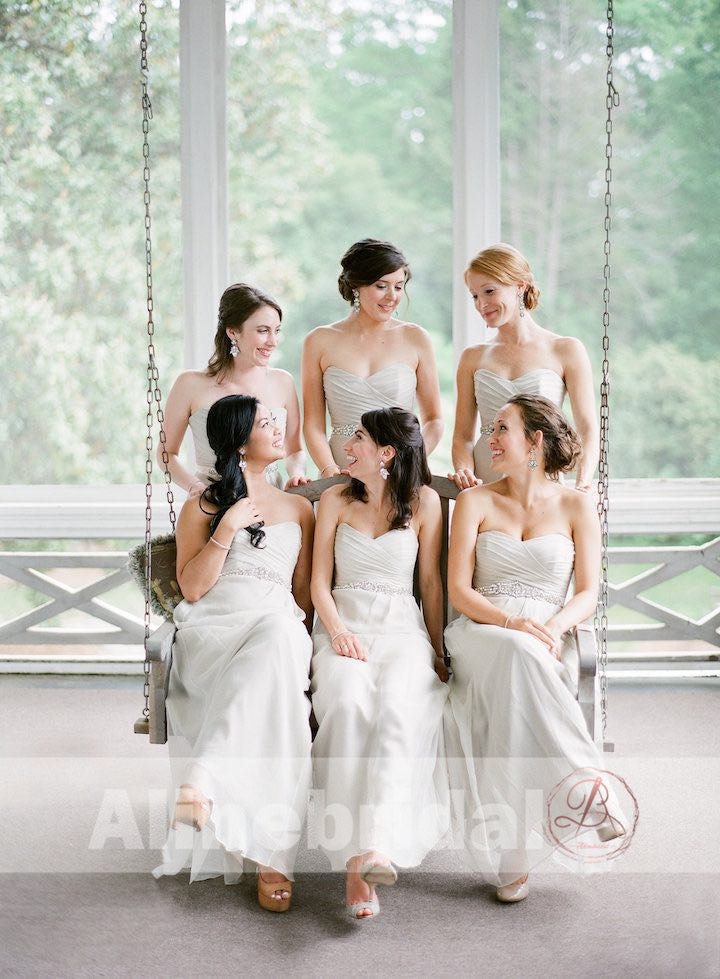 Simple Ivory Chiffon Sweetheart Strapless Long Bridesmaid Dresses , AB1221