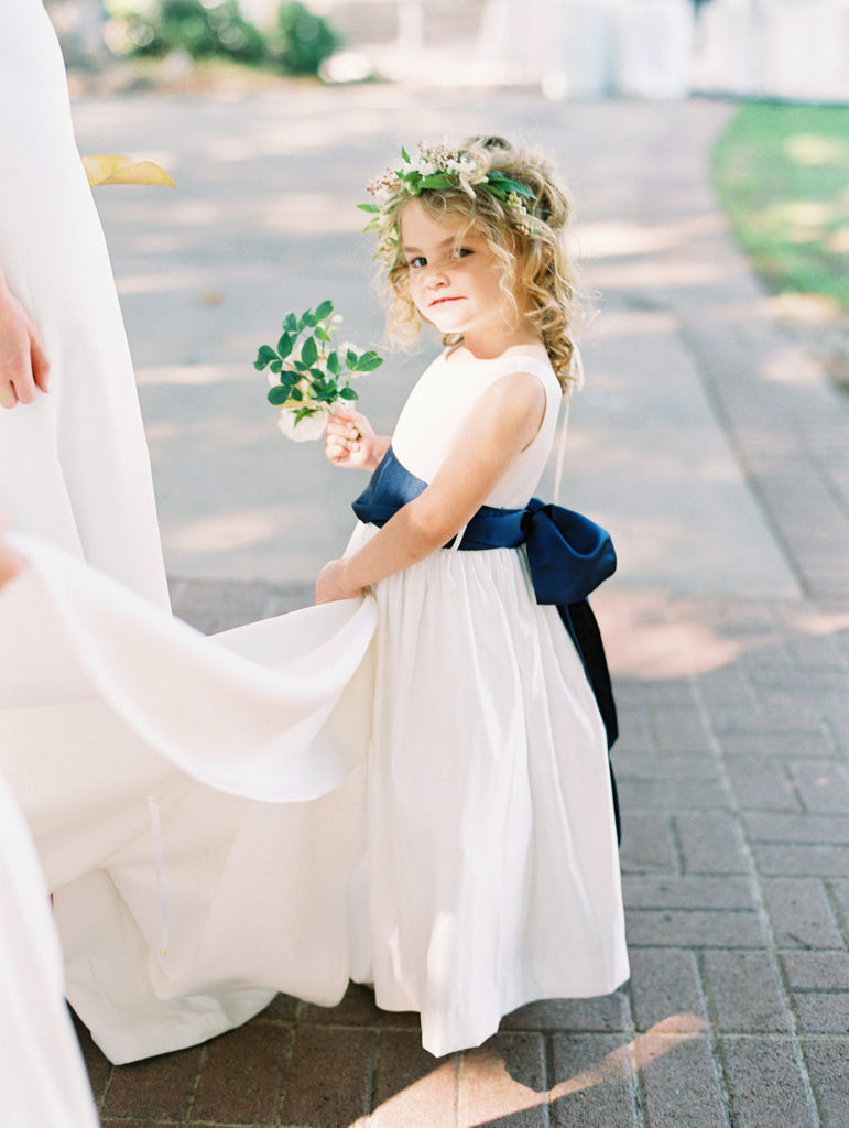 Simple Ivory Satin Navy Belt Vintage Flower Girl Dresses, FGS108