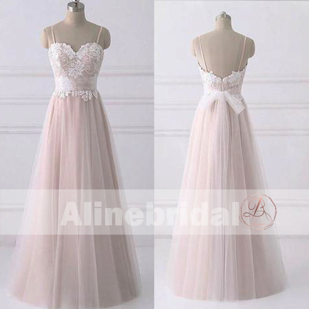 Princess Light Pink Lace Wedding Dress With Off The: Simple Lace Top Light Pink Tulle Spaghetti Strap A-line