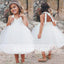 Simple Off White Tulle Haler Cute Flower Girl Dresses, FGS080