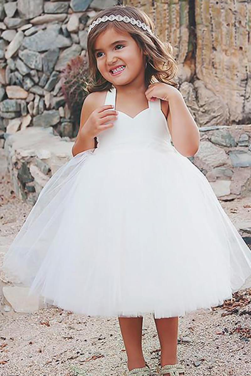Simple Off White Tulle Haler Cute Flower Girl Dresses Fgs080