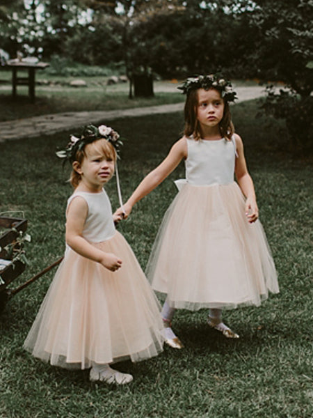 Simple Satin Tulle Sleeveless With Bowknot Flower Girl Dresses, FGS143