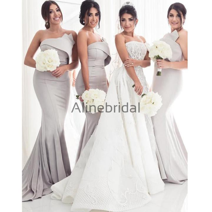 Simple Strapless Sexy Grey Satin Mermaid Long Bridesmaid Dresses, AB4003