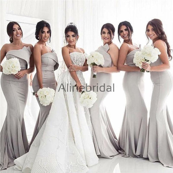 Simple Strapless Sexy Grey Satin Mermaid Long Bridesmaid Dresses Ab4003