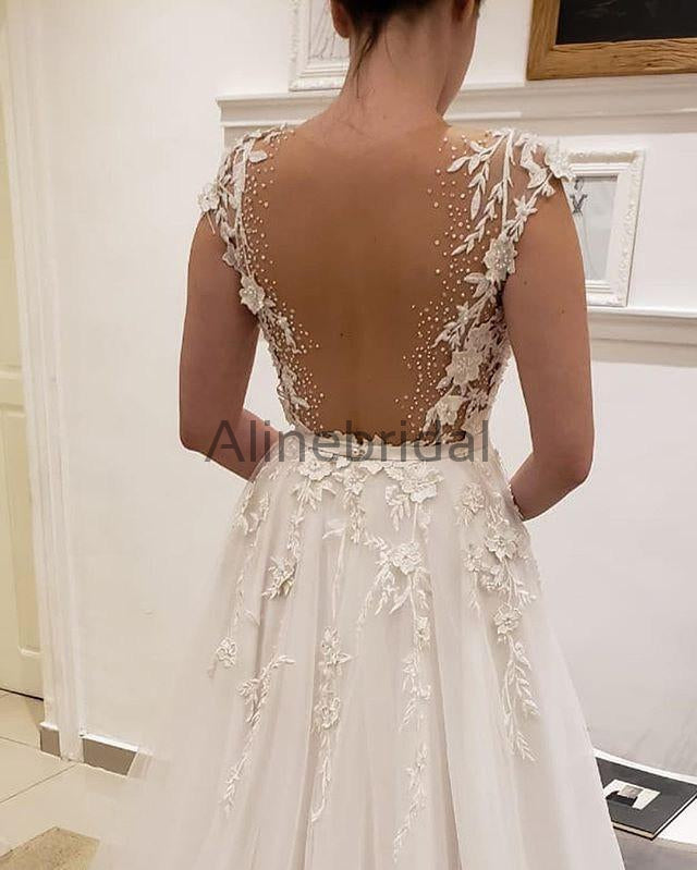 Simple Tulle Lace Illusion Back A Line Wedding Dresses Ab1506