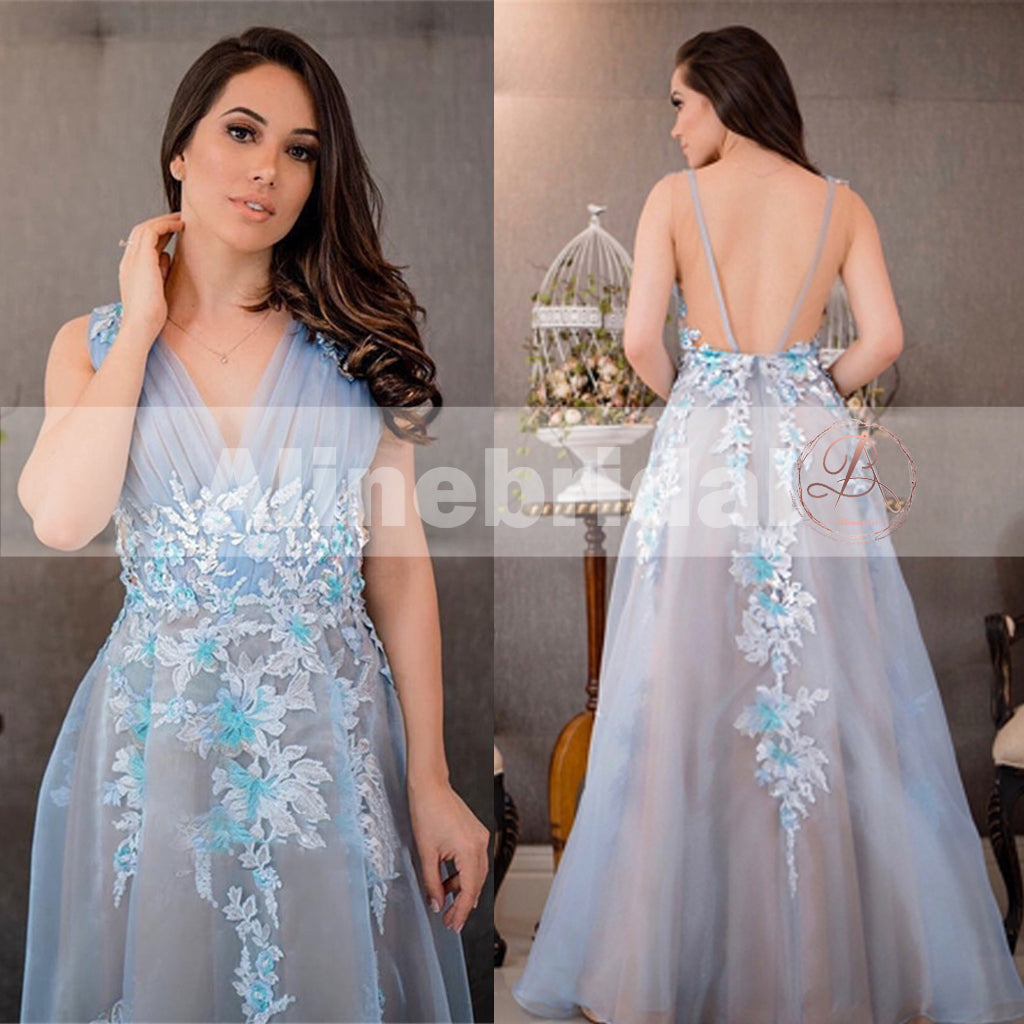Simple Pale Blue Tulle With Appliques Charming A-line See-through Back Prom Dresses, PD00089