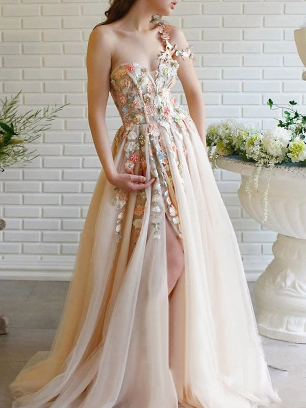A Line Single Shoulder Sweetheart Neckline Prom Dresses PD1047