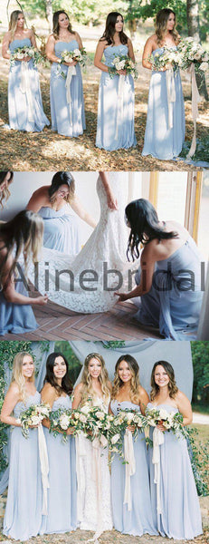 Sky Blue Chiffon Strapless A-line Long Cheap Bridesmaid Dresses , AB4121
