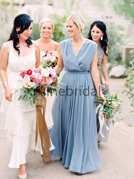 Sky Blue Chiffon V-neck Boho Long Birdesmaid Dresses, AB4135
