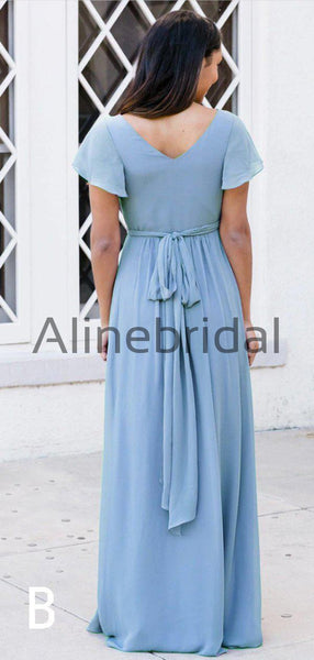 Sky Blue Chiffon V-neck Cap Sleeve A-line Long Bridesmaid Dresses, AB4126