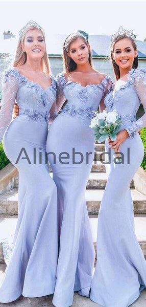 Sky Blue Lace Aplique Jersey Mermaid Long Sleeve Charming Bridesmaid Dresses, AB4095