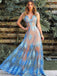 Sky Blue Lace See Through Spaghetti Strap Prom Dresses.PD00236
