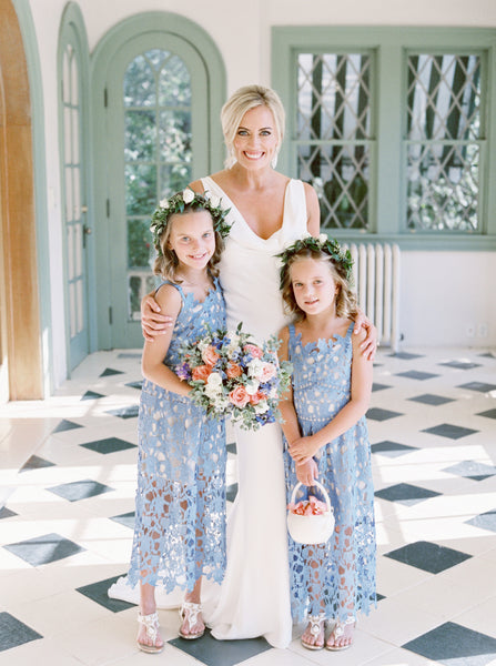 Sky Blue Lace Sheath Sleeveless Boho Long Flower Girl Dresses, FGS107