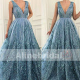 Sky Blue Lace With Beads V-neck Sleeveless Gorgeous Prom Dresses,PD00099