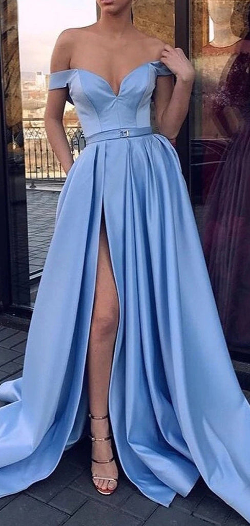 Sky Blue Satin Off Shoulder Simple Prom Dresses,PD00160