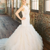 Sleeveless Lace Open Back Organza Ivory Ruffles Mermaid Wedding Dresses , WD0087