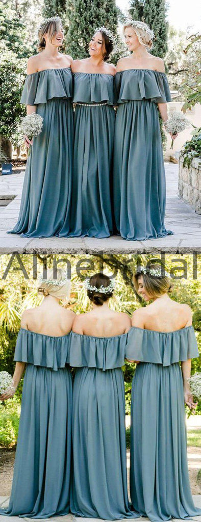 Sofa Green Chiffon Off Shoulder Boho Wedding Bridesmaid Dresses, AB4085