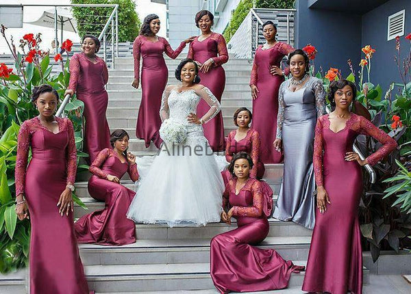South African Long Sleeve Mermaid Lace Elastic Satin Long Bridesmaid Dresses , AB4080