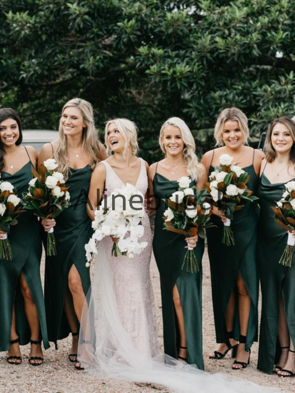 Spaghetti Straps Green Long Simple Beach Bridesmaid Dresses AB4231
