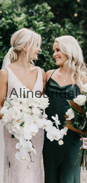 Spaghetti Straps Green Short Simple Beach Bridesmaid Dresses AB4232