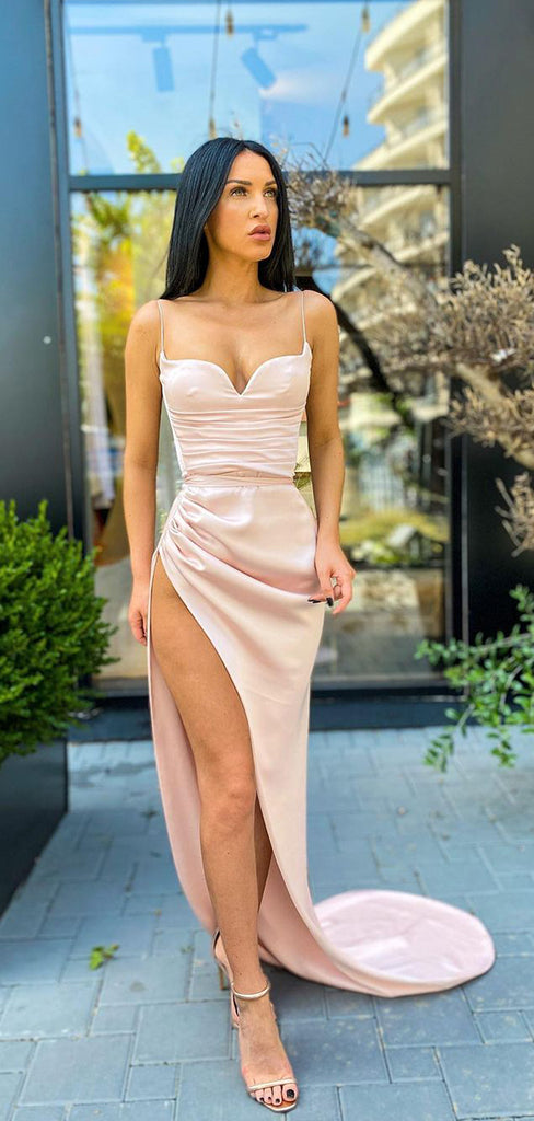Spaghetti Straps Sexy Mermaid Simple Evening Prom Dresses  PD1054