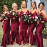 Spaghetti Strap Off Shoulder High Low Sexy Burgundy Mermaid Bridesmaid Dresses, AB4004
