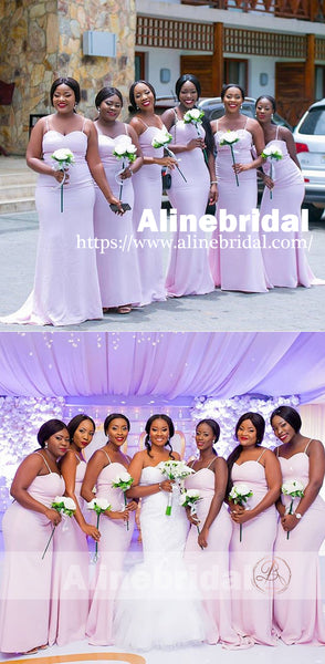 Spaghetti Strap Sweetheart Mermaid Simple Bridesmaid Dresses, AB1215