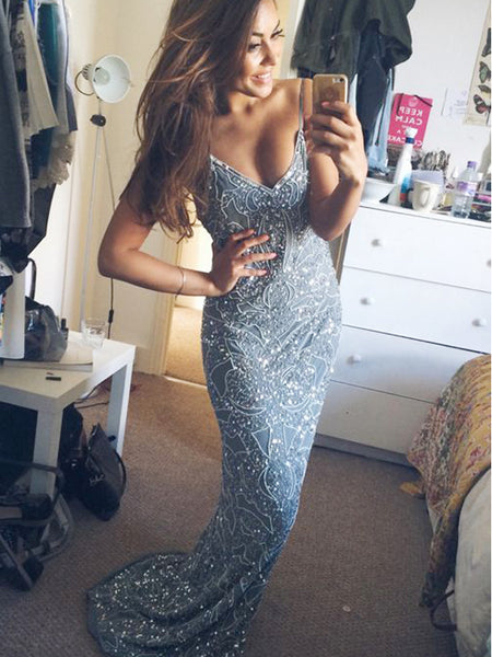 Spaghetti Straps Sexy Mermaid Sexy Charming Cocktail Party Prom Dress,PD0057