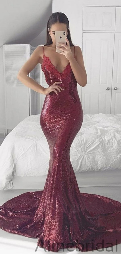 Spahetti Straps V Neckline Sequin Party Mermaid Burgundy Prom Dresses PD1050