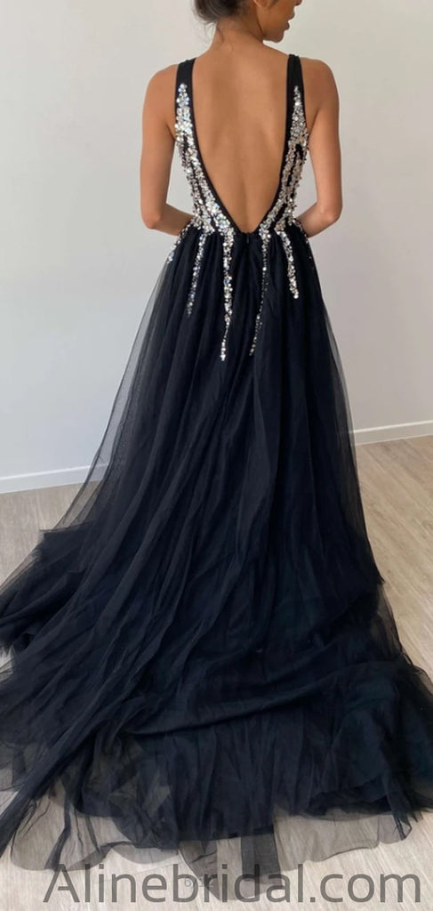 Sparkly A-Line Tulle Sequin Long Prom Dresses PD1036