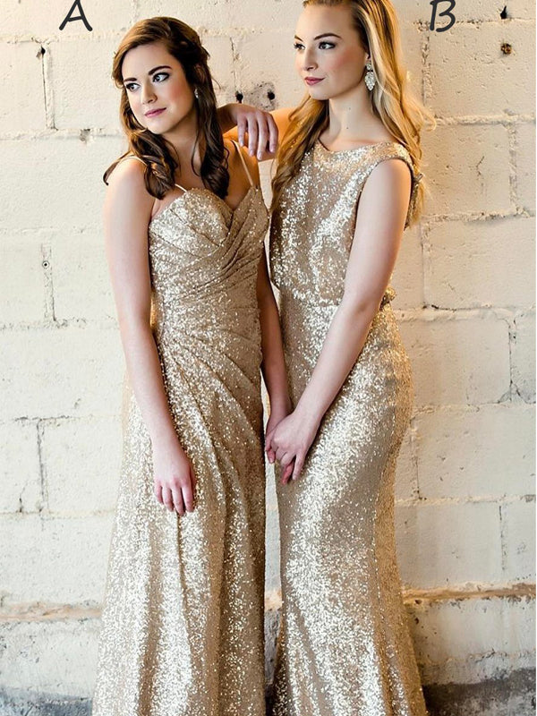Sparkly Sequin Meramid Long Bridesmaid Dresses AB4258