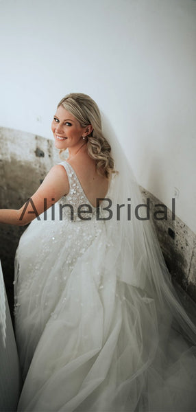 Sparkly Beading 3D Lace Illusion V-back Tulle Wedding Dresses, AB1562