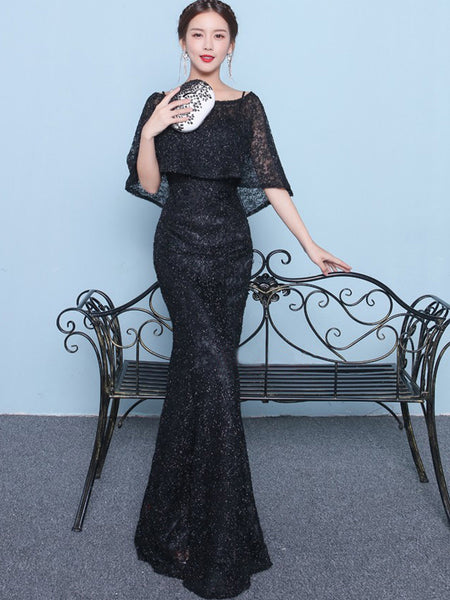 5a489bd7 Sparkly Beading Black Lace With Shawl Mermaid Formal Party Prom Dresses ,PD00017
