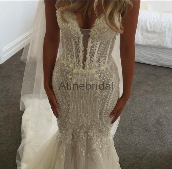 Sparkly Beading Tulle Strapless Mermaid Vintage Wedding Dresses, AB1503