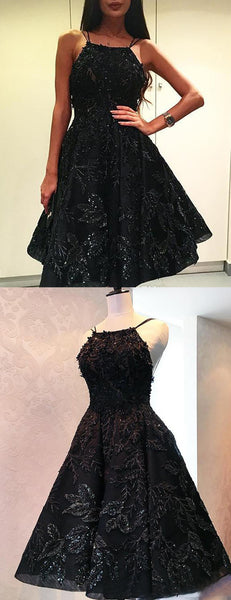 Sparkly Black Beading Lace Spaghetti Strap Backless Homecoming Dresses,HD0062