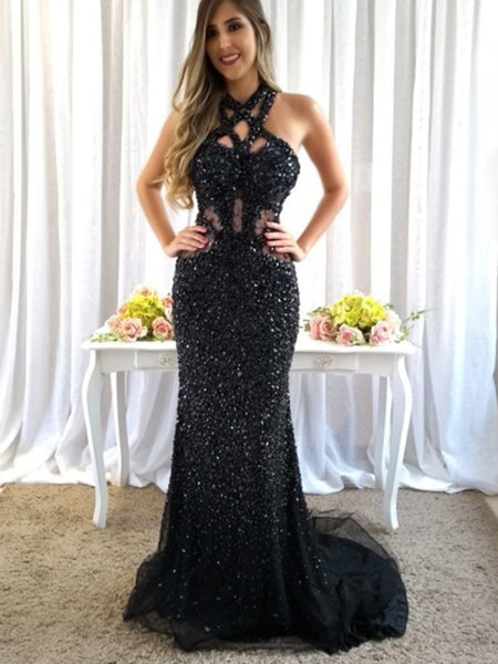 6fc8ebf9c33d6 Sparkly Black Rhinestone Open Back Mermaid Prom Dresses.PD00283 –  AlineBridal