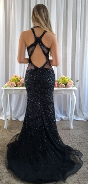 Sparkly Black Rhinestone Open Back Mermaid Prom Dresses.PD00283