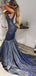 Sparkly Dark Grey Sequined Satin Mermaid Train Prom Dresses,PD00325