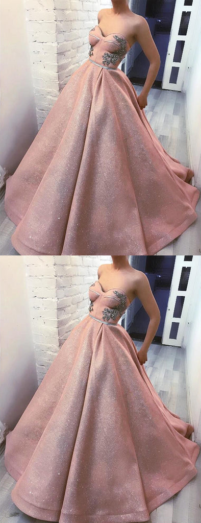 Sparkly Dusty Pink Sweetheart Strapless Ball Gown Prom Dresses ,PD00146