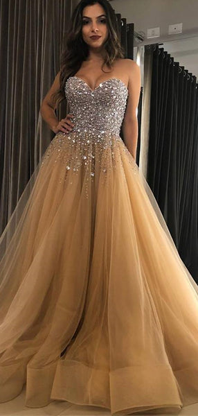 Sparkly Rhinestone Nude Tulle Sweetheart Strapless Ball Gown Prom Dresses.PD00281