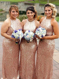 Sparkly Rose Gold Sequin Sleeveless Sheath Long Bridesmaid Dresses, AB4077