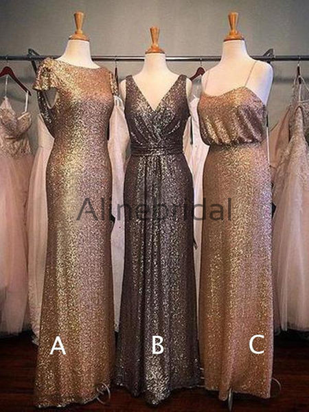 Sparkly Sequin Mismatched Sheath Long Bridesmaid Dresses, AB4076