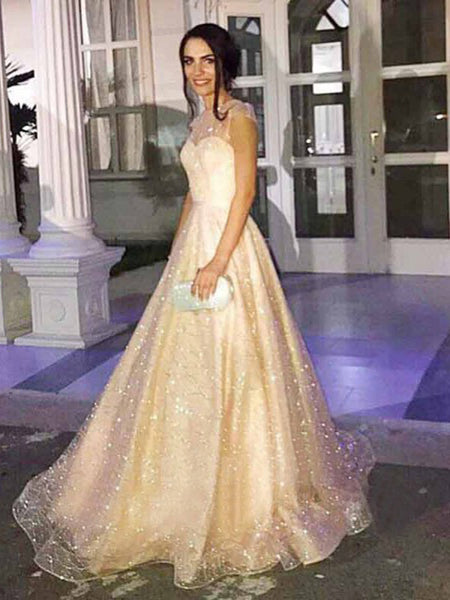 Sparkly Sequined Tulle Satin Illusion Cap Sleeve Prom Dreses,PD00369
