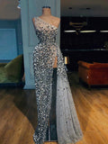 Sparkly Silver Beading One Shoulder Party Prom Dresses,PD00141