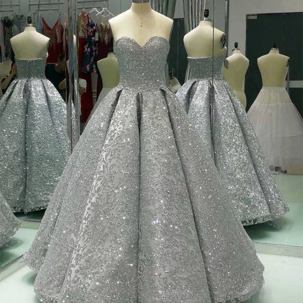 Sparkly Silver Sequin Sweetheart Strapless Ball Gown Prom Dresses,PD00085